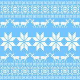 Christmas ornament pattern, blue nordic style Royalty Free Stock Photo