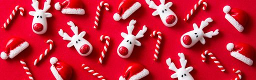 Christmas ornament pattern on red background. Panoramic view royalty free stock photography