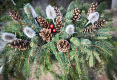Christmas ornament with pine cone Stock Photo