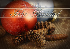 Christmas ornament and pine cones Stock Photos