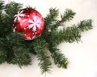 Christmas ornament in a pine tree Stock Photo