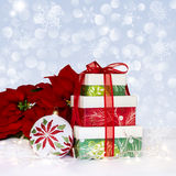 Christmas Ornament Poinsettia's & Presents Royalty Free Stock Images