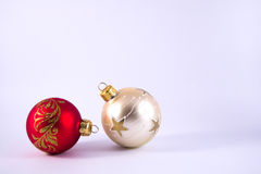 Christmas ornament. Red white with different shapes on Stock Photography