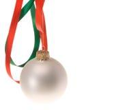 Christmas ornament and ribbon Royalty Free Stock Photo