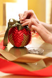 Christmas ornament with ribbon Stock Image