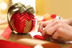 Christmas ornament with ribbon Stock Photography