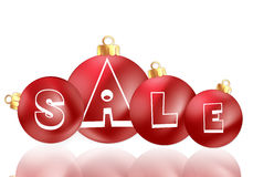 Christmas Ornament Sale. 4 red Christmas ornament with sale written on them Royalty Free Stock Photo