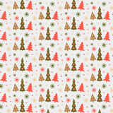 Christmas Ornament. Christmas seamless pattern with Christmas trees and snowflakes Royalty Free Stock Images