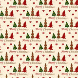 Christmas Ornament. Christmas seamless pattern with Christmas trees and text Stock Photo