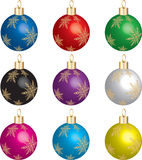 Christmas Ornament Set 1. Set of 9 christmas ornaments with gold snowflakes. Vector Illustration photo real 3D stock illustration