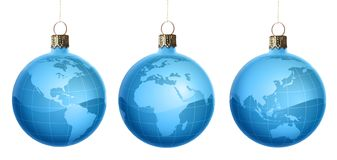 Christmas ornament set. Collection of New Year's/Christmas tree ornaments with globe/map imagery Royalty Free Stock Image