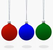 Christmas Ornament Set 3D. Assorment of Christmas ornaments, in velvet flat matte Red, Blue, & Green. 3D renders vector illustration