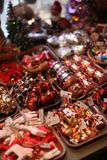 Christmas Ornament Shop in Copenhagen, Denmark. Small store selling display of traditional glass Christmas tree baubles for the holiday season Stock Images