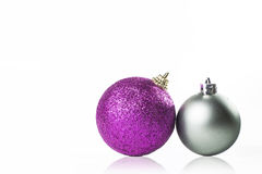 Christmas Ornament silver and purple. On white background royalty free stock photos