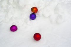 Christmas ornament in snow stock photography