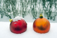 Christmas ornament in snow royalty free stock photos
