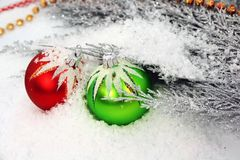 Christmas ornament on snow Stock Photos
