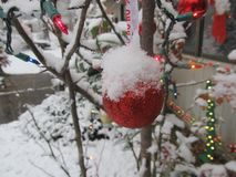 Christmas ornament with snow on top Stock Photo