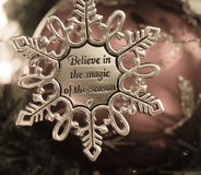 Christmas Ornament. Snowflake Christmas ornament hanging on a tree Royalty Free Stock Images