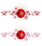 Christmas Ornament and snowflakes Stock Photos