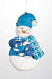 Christmas Ornament Snowman with Hat and Wreath Royalty Free Stock Photography