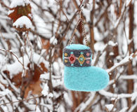 Christmas ornament sock. On snow branch Royalty Free Stock Image