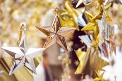 Christmas ornament Star Xmas tree decoration. Holiday background stock photo