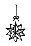 Christmas ornament star, zentangle style sketch Stock Images