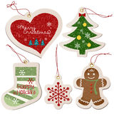 Christmas ornament tag collection Royalty Free Stock Photos