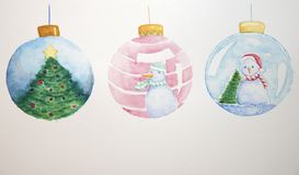 Christmas ornament to decorate the Christmas tree by watercolor stock illustration