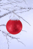 Christmas Ornament Topped with Snow Stock Photo