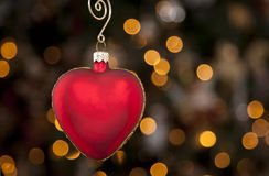 Christmas Ornament on tree. Heart shaped Christmas Ornament on tree Stock Photography