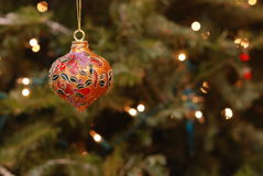 Christmas Ornament & Twinkling Lights Stock Photography