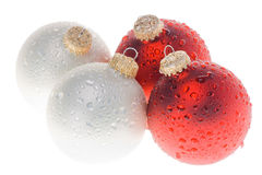 Christmas ornament with water drops 2 Royalty Free Stock Images