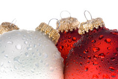 Christmas ornament with water drops Royalty Free Stock Photo