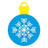 Christmas ornament on white background. Blue christmas ornament with snowflake on white background. vector illustration Stock Photography