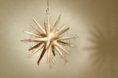 Christmas ornament - White star. Closeup of a white star shaped christmas tree ornament on light background Stock Photography