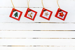 Christmas ornament on white wooden background Stock Photos