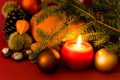 Christmas Ornament With Candle,balls Stock Image