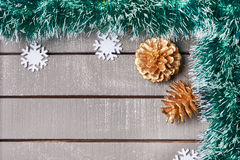 Christmas ornament on wooden background Stock Photos