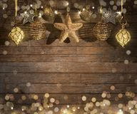 Christmas ornament on wooden background. Christmas ornament, wooden background bokeh Royalty Free Stock Photos