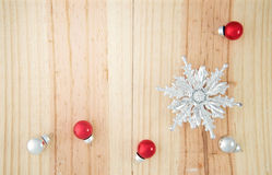 Christmas Ornament on wooden background Royalty Free Stock Photos