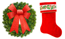 Christmas ornament wreath with red ribbon bow and sock Royalty Free Stock Photos