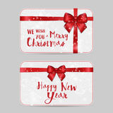 Christmas ornamental Card Templates with Shiny holiday red satin ribbon bow. Vector New Year template for vouchers, gift cards Royalty Free Stock Photo