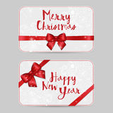 Christmas ornamental Card Templates with Shiny holiday red satin ribbon bow. Vector New Year template for vouchers, gift cards Stock Photo