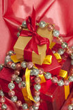 Christmas ornamental gift boxes Royalty Free Stock Image