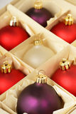 Christmas ornaments. Boxed xmas decorations ready to be hung on holiday tree stock image