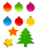 Christmas ornaments. A collection of christmas ornaments isolated over white background Stock Images