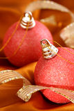 Christmas Ornaments. Still Life of Christmas Ornaments with Ribbon Stock Photography
