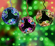 Christmas Ornaments. Colorful Christmas Ornaments With Holiday Lights Bokeh Background Stock Photos